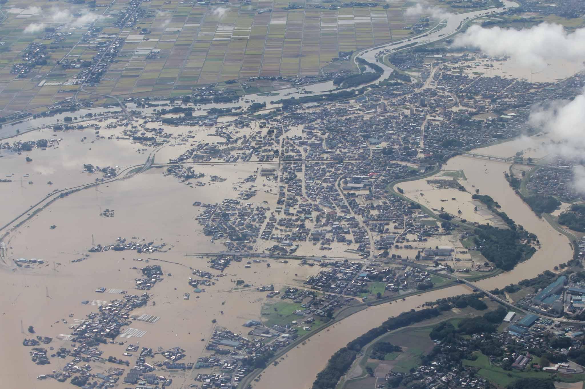 平成27年9月 関東・東北豪雨における常総市の浸水状況